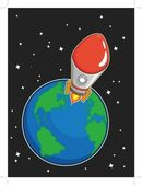 Rocket Fly from Earth — Stockvector