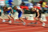 100-meter-lauf unscharf — Stockfoto