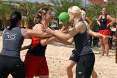 Beachhandball women — Stock Photo