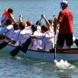 Dragon boat race in  the Rhine/Schweiz — Stok fotoğraf