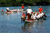 Dragon boat race in the Rhine/Schweiz — Stock Photo