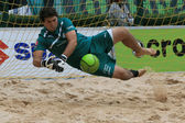 Beach soccer goalkeepers in action — Stock Photo