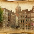 Streets of Old Amsterdam made in retro style — Stock Photo