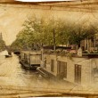 Views of old Amsterdam made in artistic retro style - Stock Photo