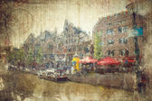 Views of old Amsterdam made in artistic retro style — Stock Photo