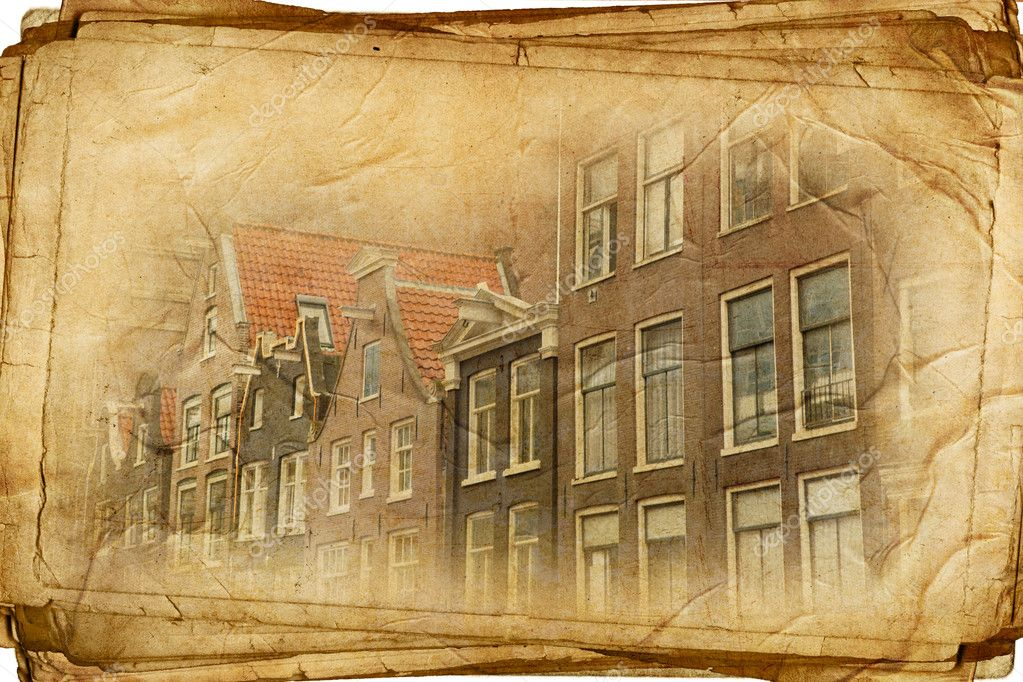 Streets of Old Amsterdam made in retro style  Stock Photo #11485227