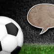 Soccer ball with speech bubble - Stock Photo