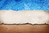 Paper over swimming pool background — Stock Photo