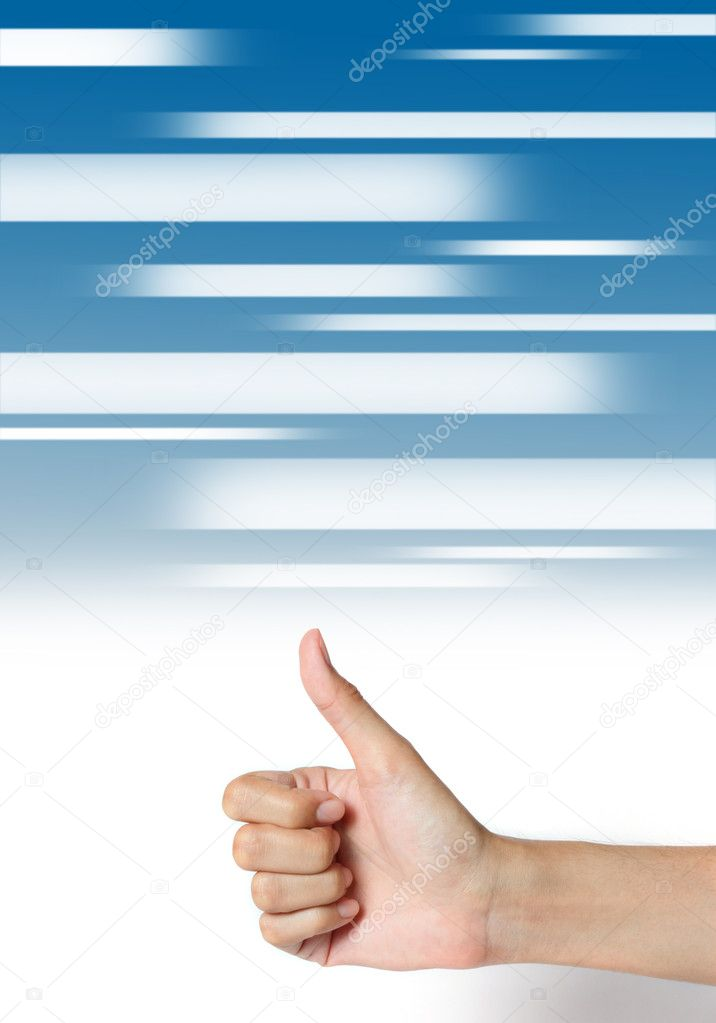 Hand thumb up on abstract media blue background.  Stock Photo #12051182