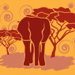 Elephant in African savanna — Stock Vector