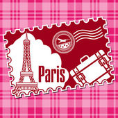 Stamp with a kind on Eiffel tower. — Stock Vector