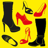 Different kinds of footwear — Stock Vector