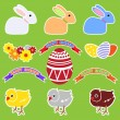 Stock Vector: Set of elements by Easter: rabbits, chickens, flowers, tapes, eggs