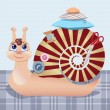Постер, плакат: Snail the seamstress with scissors a pillow a pin buttons threads