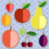 Set of vector silhouettes of fruits. — Vector de stock
