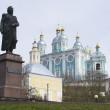 Monument to Kutuzov and Uspenskii cathedral — Stock Photo