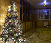 Christmas tree in interior — Stock Photo