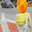 Road construction lights - Stock Photo