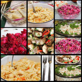 Russian Style Salads collage — Stock Photo