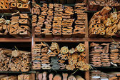 Wooden boards in a warehouse of building materials — Stock Photo
