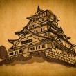 Free hand sketch collection: Osaka castle Osaka, Japan - Stock Photo