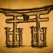 Free hand sketch collection: Japan Traditional Gate, Japan — Stock Photo
