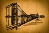 Free hand sketch collection: Golden Gate Bridge, San Francisco — Stock Photo