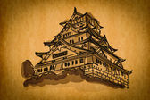Free hand sketch collection: Osaka castle Osaka, Japan — Stock Photo