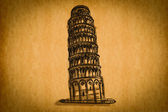 Free hand sketch collection: Pisa tower, Italy — Stockfoto