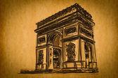 Vrije hand schets collectie: arc de triomphe, paris, frankrijk — Stockfoto
