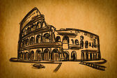 Free hand sketch collection: Colosseum in Rome, Italy — Stock Photo
