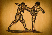 Free hand sketch Thai Boxing Collection : Muay Thai — Stock Photo