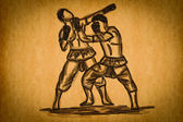 Free hand sketch Thai Boxing Collection : Muay Thai — Stok fotoğraf