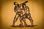 Esboço livre mão thai boxing coleção: muay thai — Fotografia Stock