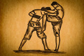 Free hand sketch Thai Boxing Collection : Muay Thai — Foto Stock