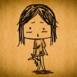 Free hand sketch cartoon girl — Stock Photo