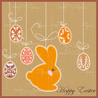 Antique postcard with Easter rabbit — Stock Vector