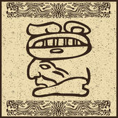 Aztec Indian face on old brown background — Vector de stock
