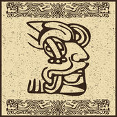 Aztec Indian face on old brown background — 图库矢量图片