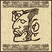 Aztec Indian face on old brown background — Stock Vector