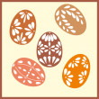 Set of six Easter eggs with with ornaments — Stock Vector