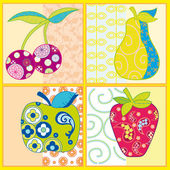 Abstract fruits isolated on a colorful background — Stock Vector