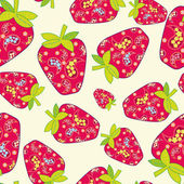 Cute fruits seamless background — Stock Vector