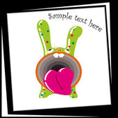 Funny Green Bunny with a big mouth — Stock Vector