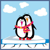 Valentine Greeting Card With Two Penguins In Love — Stok Vektör