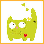 Vector green cat kitty pussicat sits with hearts. — Stock Vector