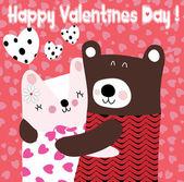 Two cute Teddy bears in love — Stock Vector