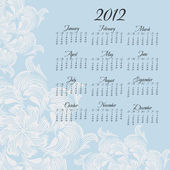 Calendario vertical año 2012 enero — Vector de stock