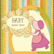 Stock Vector: Baby Girl Invitation Card