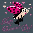 Valentine Greeting Card With Ladybug — Stock Vector